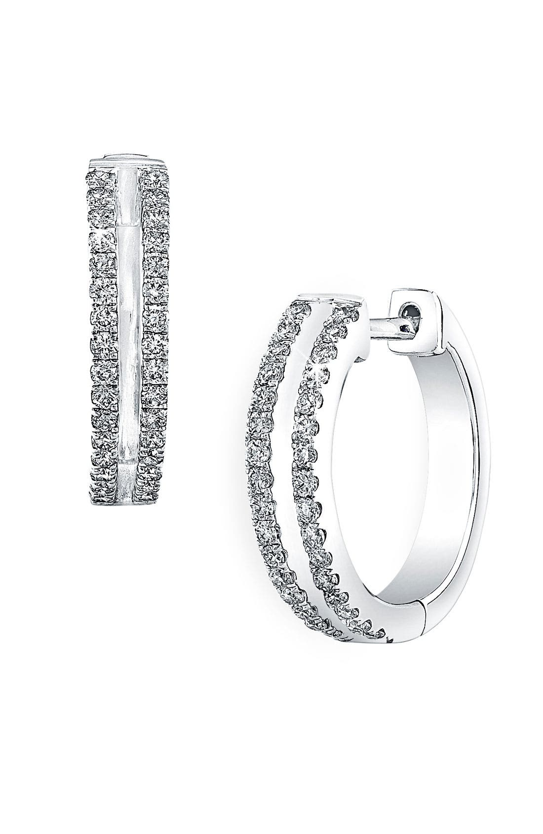 Alternate Image 1 Selected - Bony Levy 'Split' Diamond Hoop Earrings (Nordstrom Exclusive)
