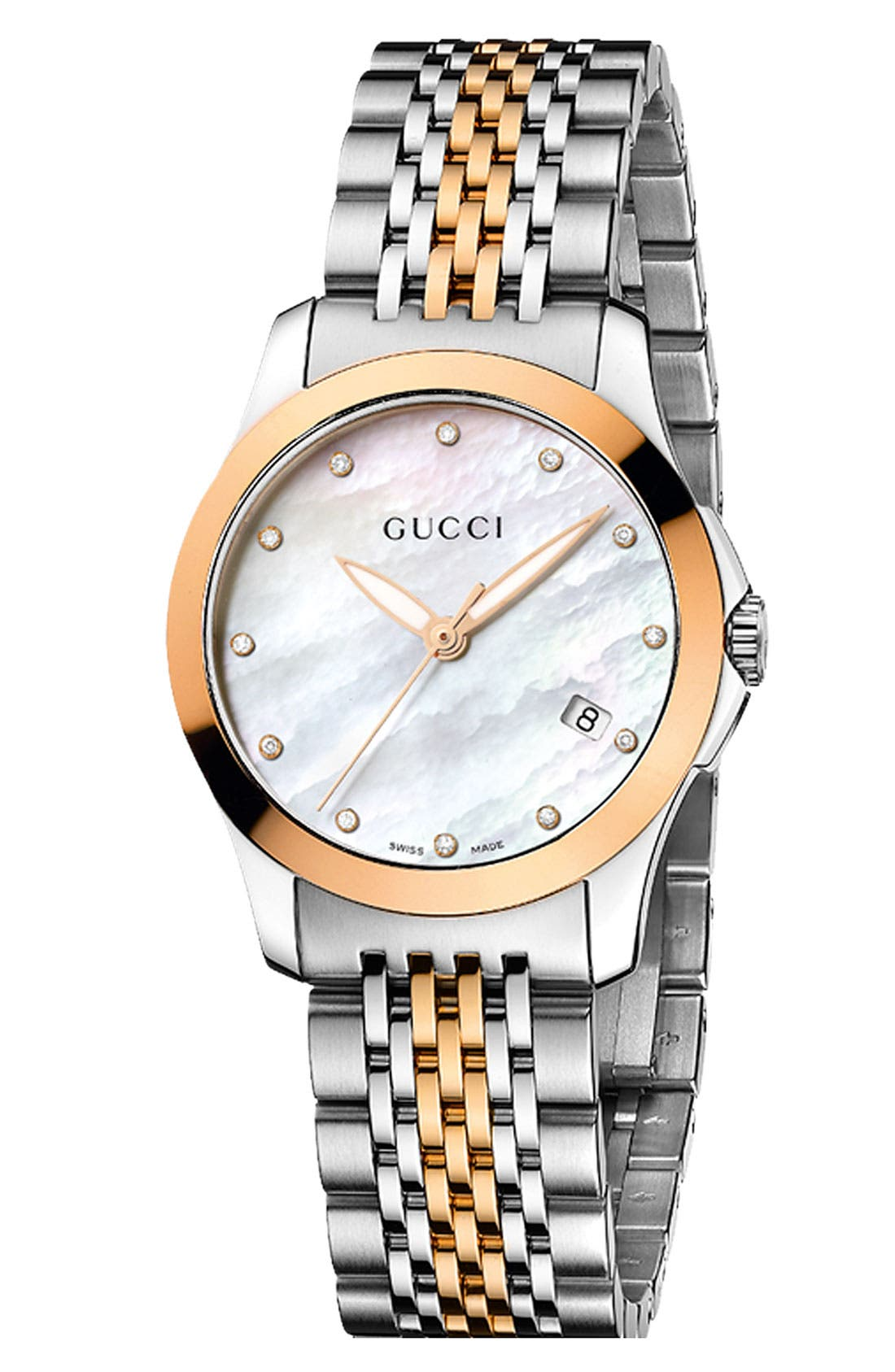 Alternate Image 1 Selected - Gucci 'G Timeless' Small Diamond Index Bracelet Watch