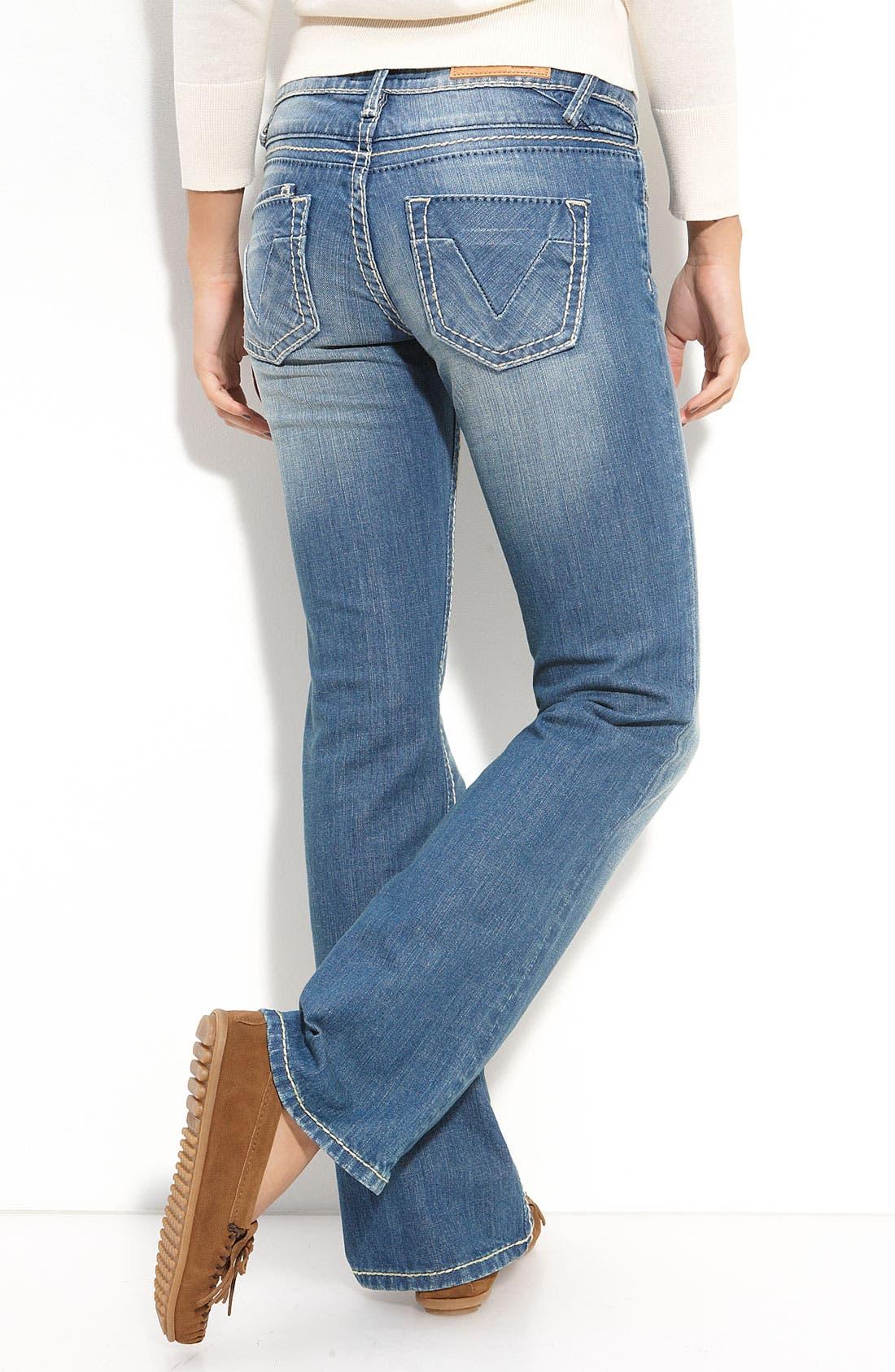 Main Image - Vigoss Thick Stitch Bootcut Jeans (Medium) (Juniors)