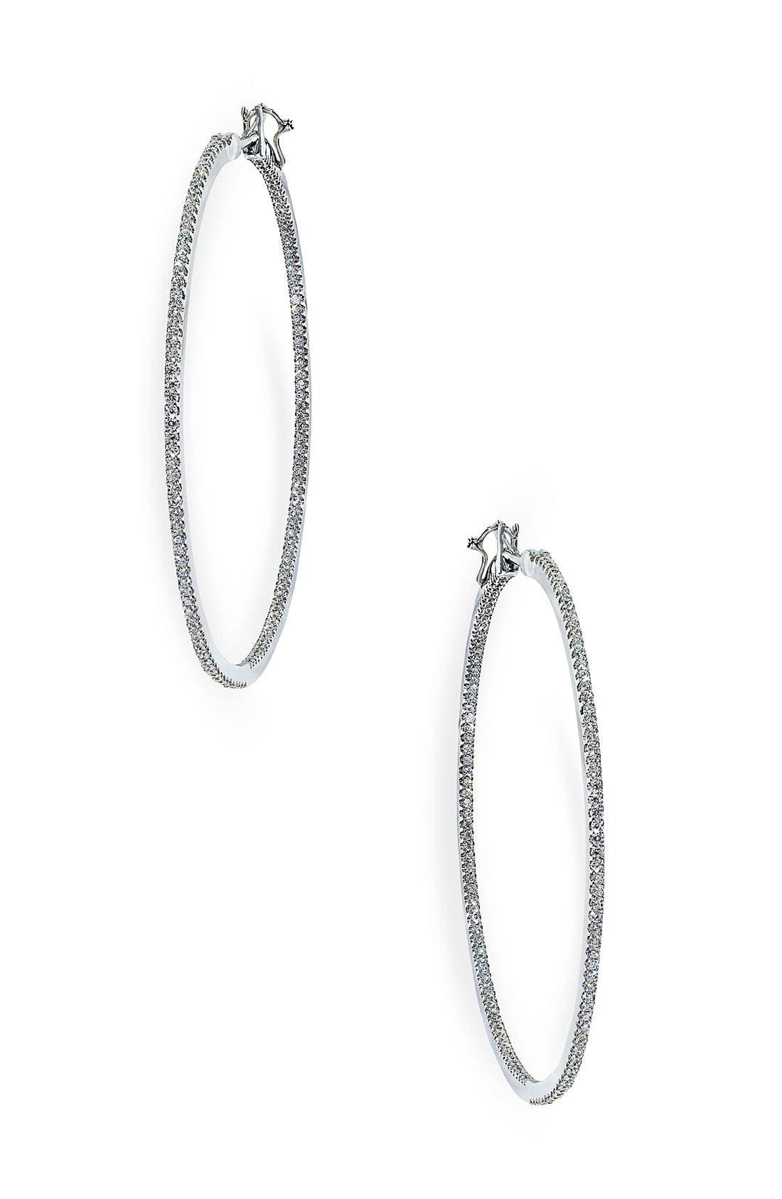 Alternate Image 1 Selected - Ivanka Trump 'Black & White' Medium Thin Diamond Hoop Earrings