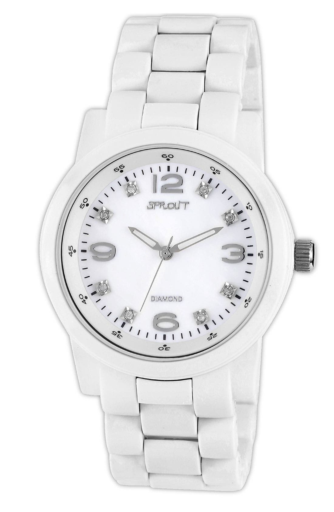 Alternate Image 1 Selected - SPROUT™ Watches Diamond Index Mother-of-Pearl Watch, 38mm
