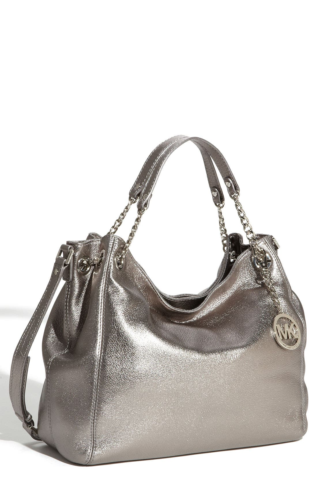 Alternate Image 1 Selected - MICHAEL Michael Kors 'Jet Set - Large' Metallic Leather Shoulder Tote