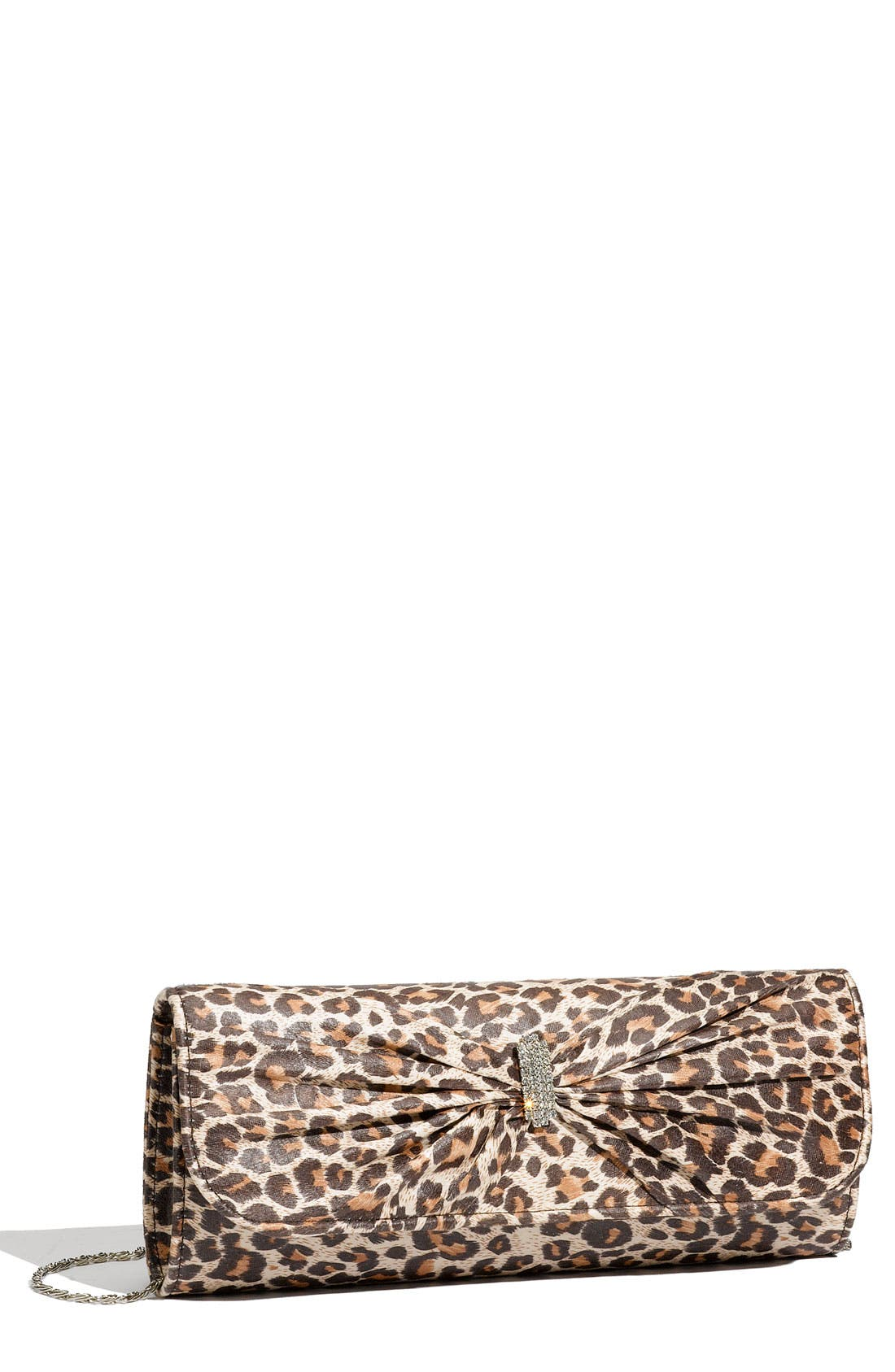Main Image - Top Choice Leopard Print Embellished Bow Clutch