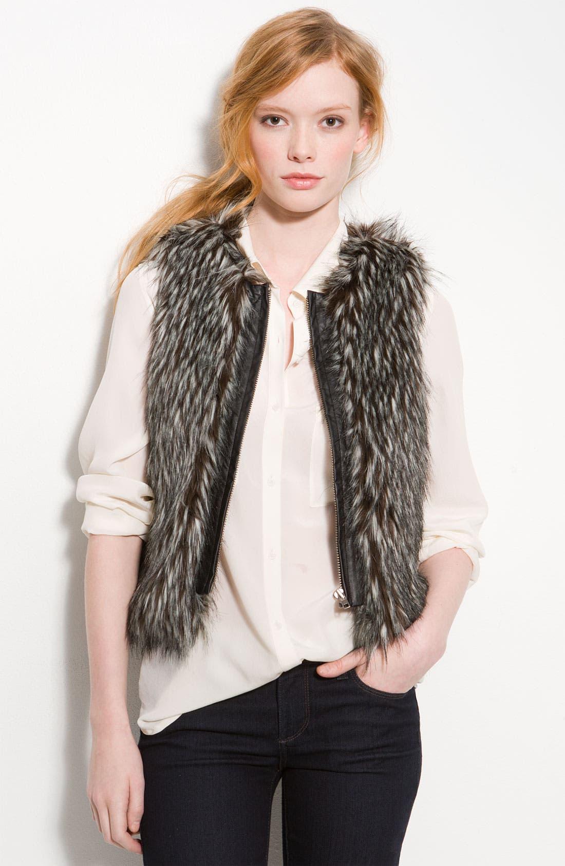 Main Image - Hinge Zip Front Faux Fur Vest