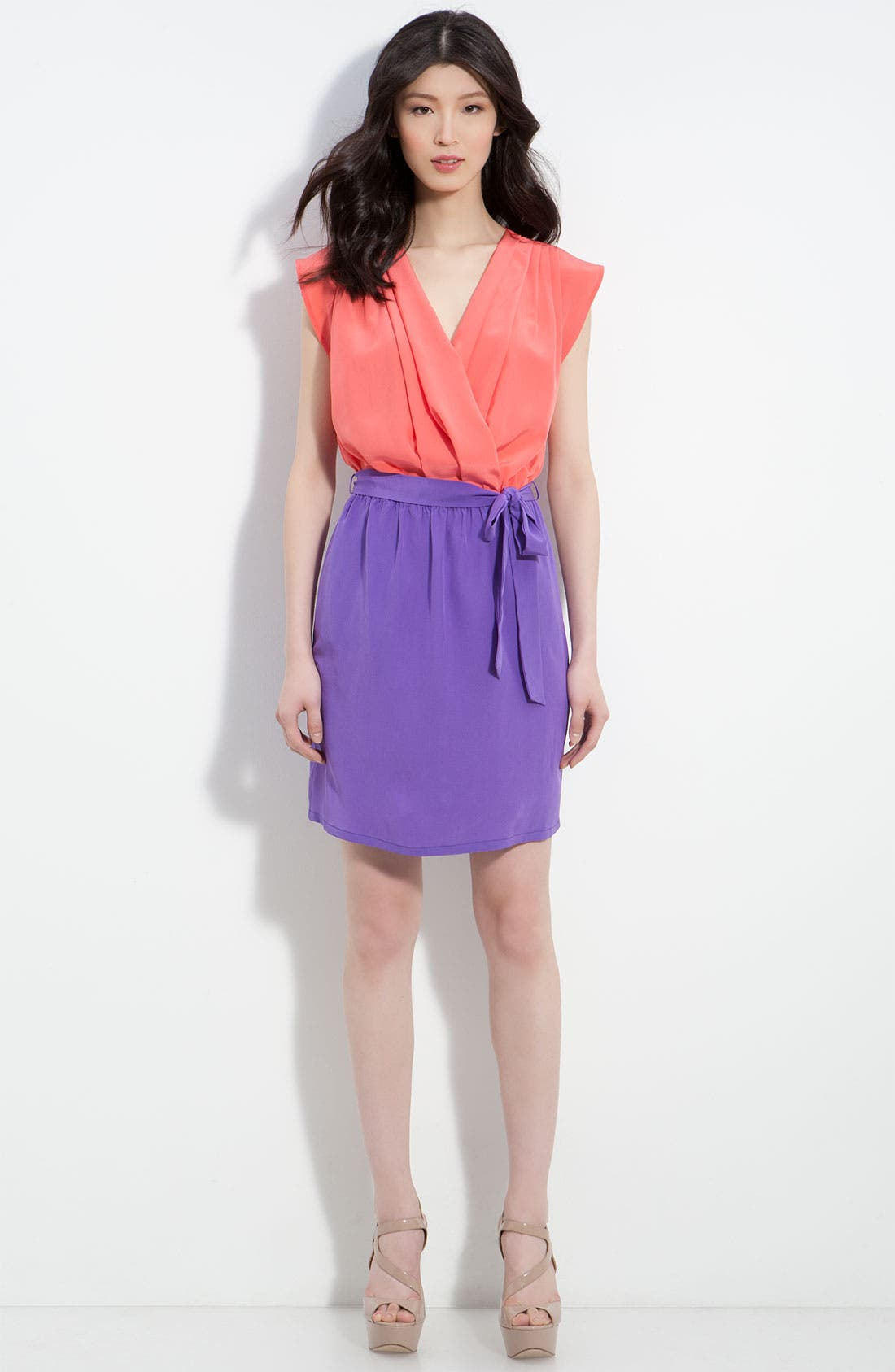 Alternate Image 3  - Charlie Jade 'April' Pleated Surplice Colorblock Silk Dress