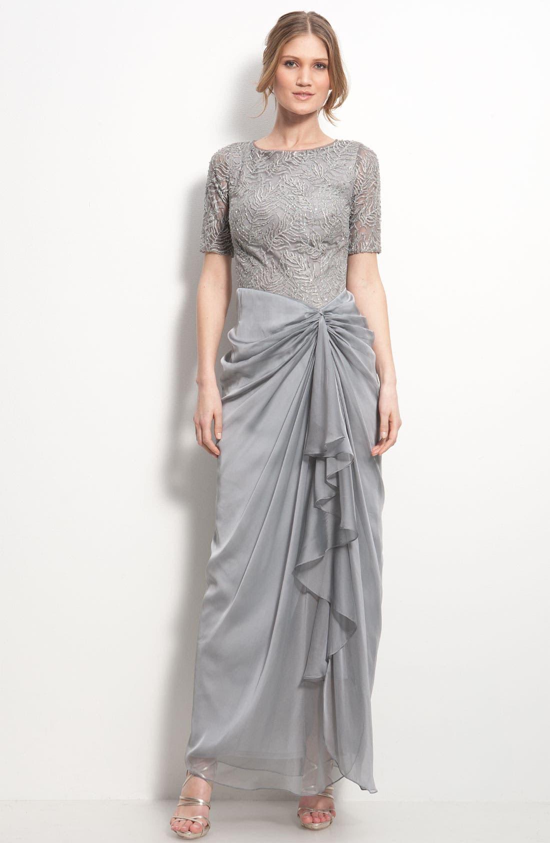 Main Image - Tadashi Shoji Mesh & Chiffon Drape Dress