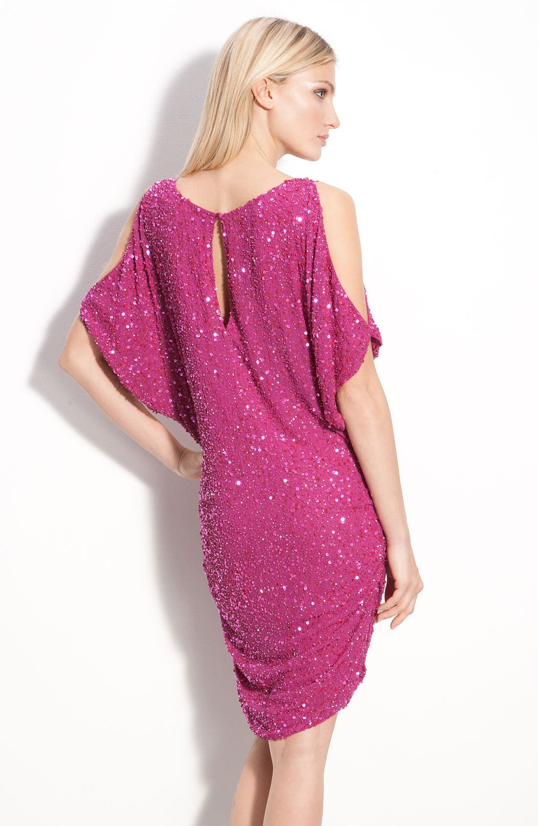 Alternate Image 2  - Aidan Mattox Shirred Hem Sequin Cold Shoulder Dress