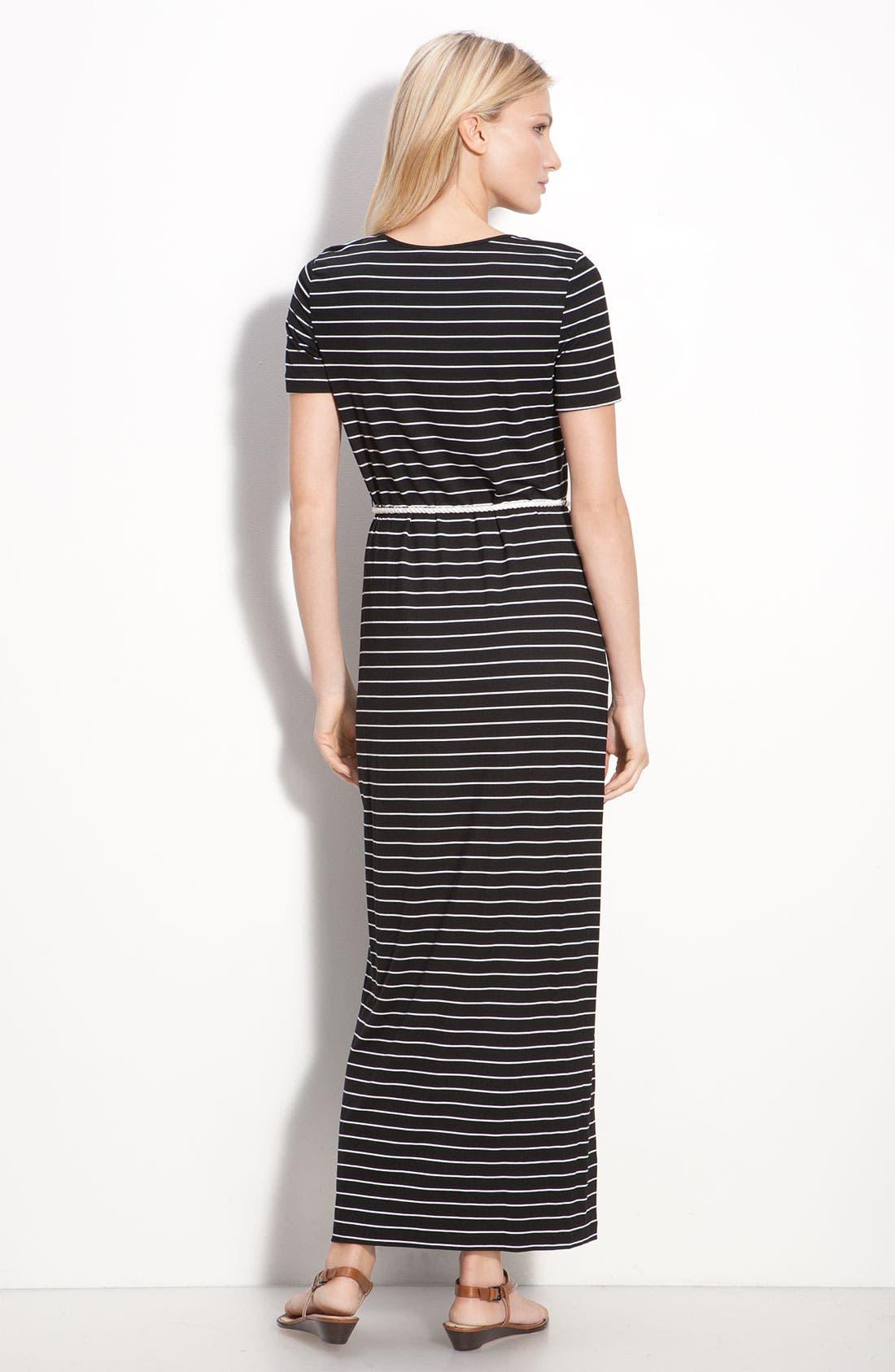 Alternate Image 2  - Calvin Klein Stripe Cap Sleeve Maxi Dress