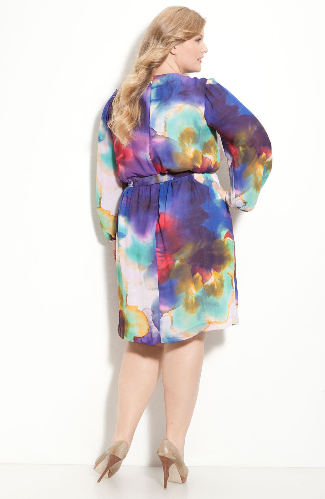 Alternate Image 2  - Suzi Chin for Maggy Boutique Faux Wrap Dress (Plus)