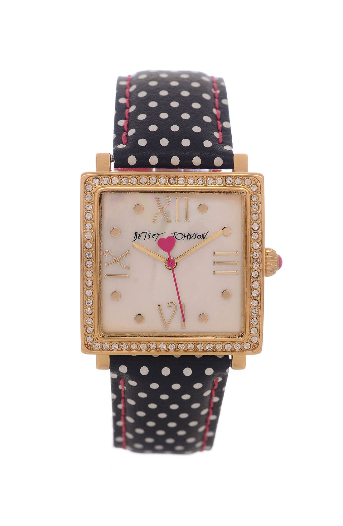 Alternate Image 1 Selected - Betsey Johnson 'Bling Bling Time' Square Polka Dot Watch