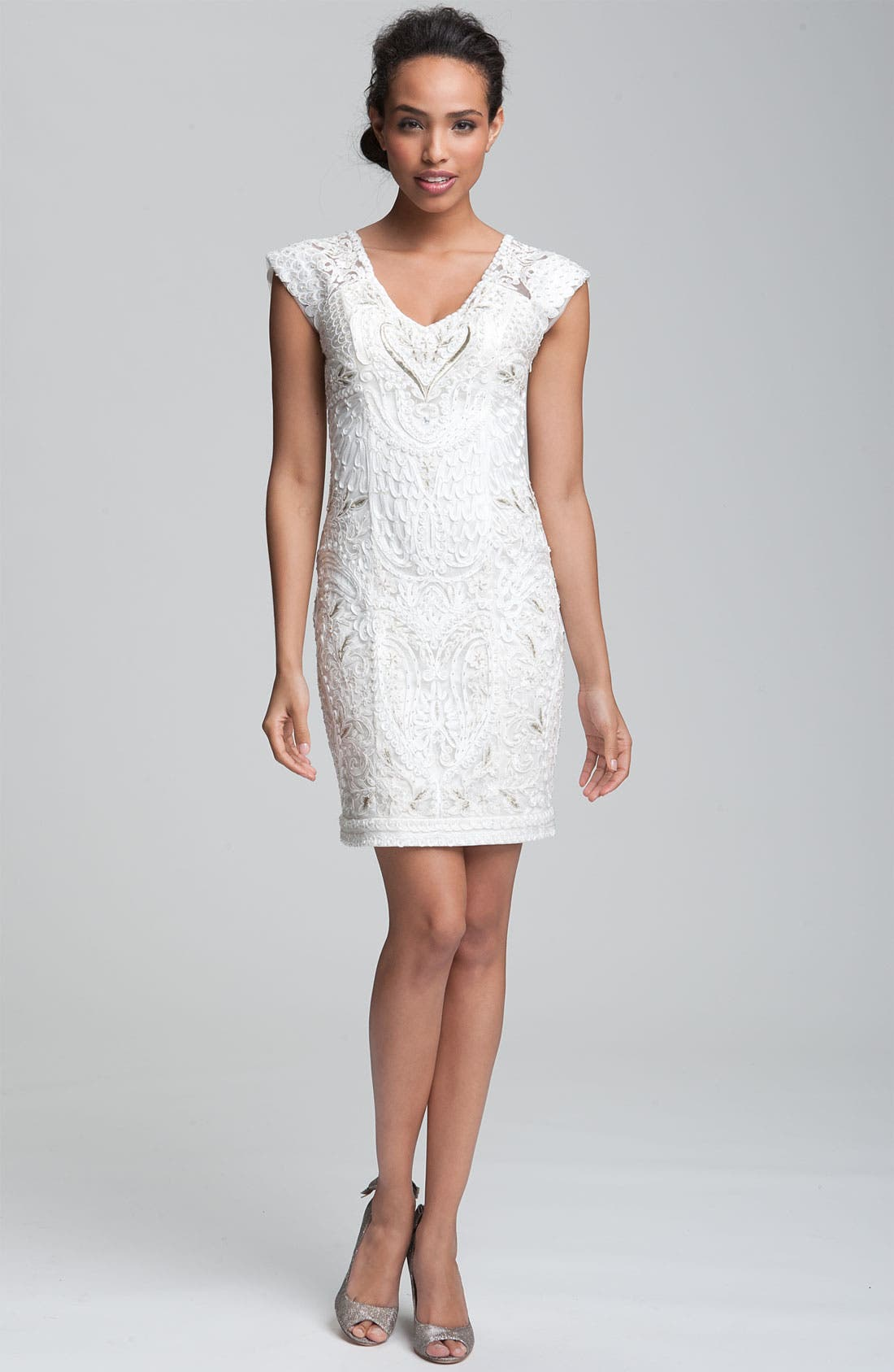 Alternate Image 3  - Sue Wong Embellished V-Neck Sheath Dress