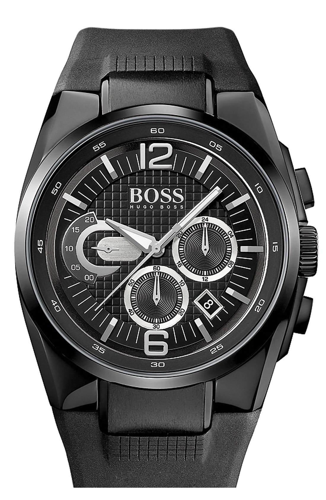 Alternate Image 1 Selected - BOSS HUGO BOSS 'HB2005' Chronograph Rubber Strap Watch, 44mm