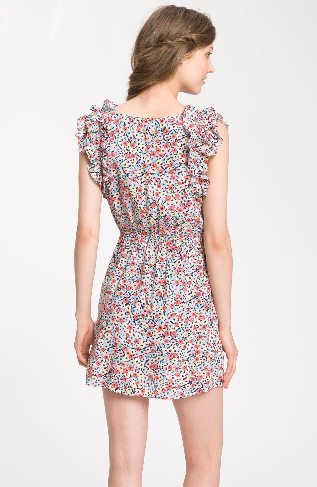 Alternate Image 2  - BCBGeneration Floral Ruffle Sleeve Dress