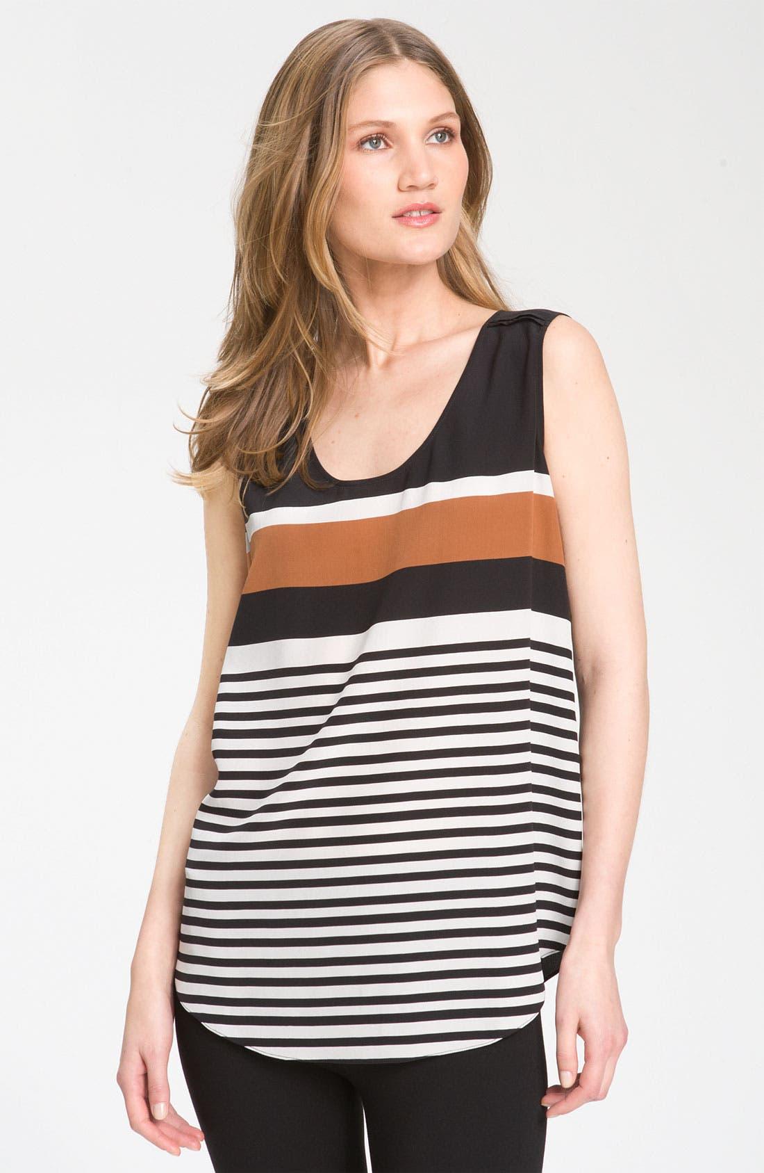 Alternate Image 1 Selected - Nordstrom Collection Sleeveless Stripe Silk Blouse