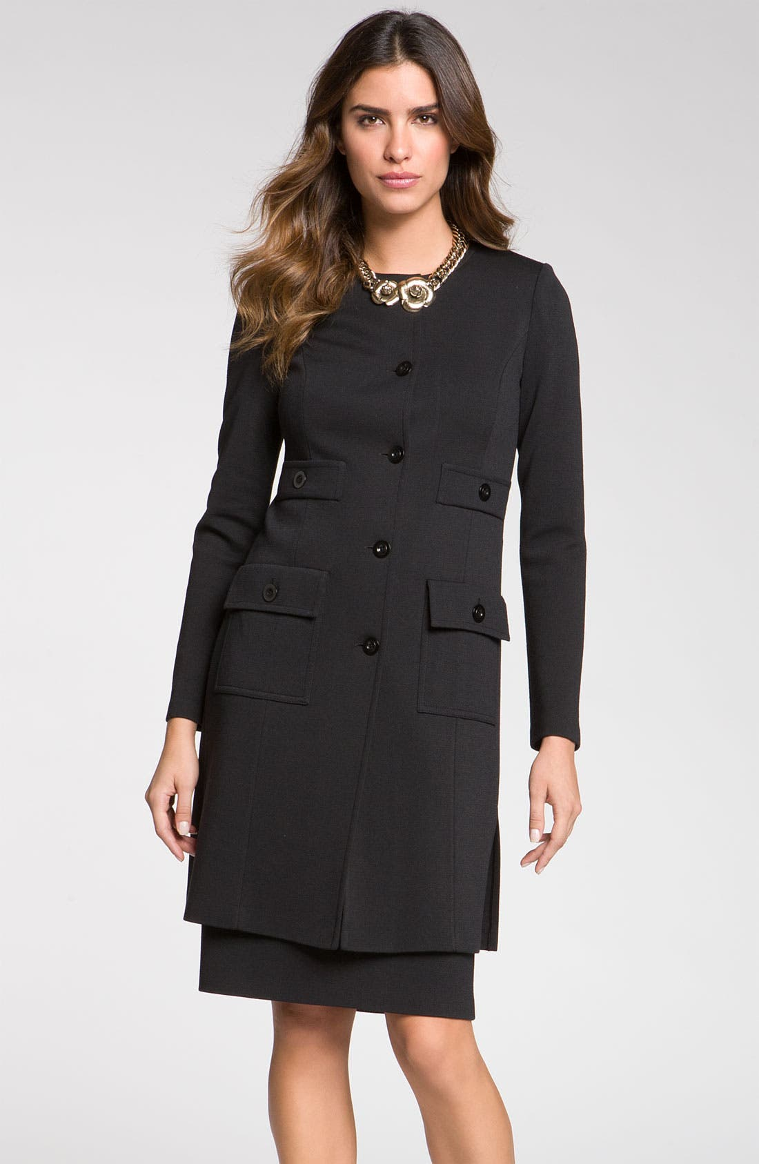 Main Image - St. John Collection Jewel Neck Milano Knit Topper