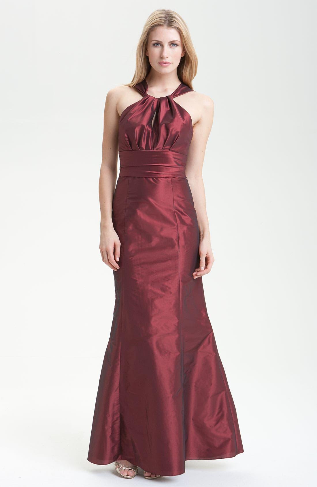 Alternate Image 1 Selected - Amsale Trumpet Skirt Taffeta Halter Gown