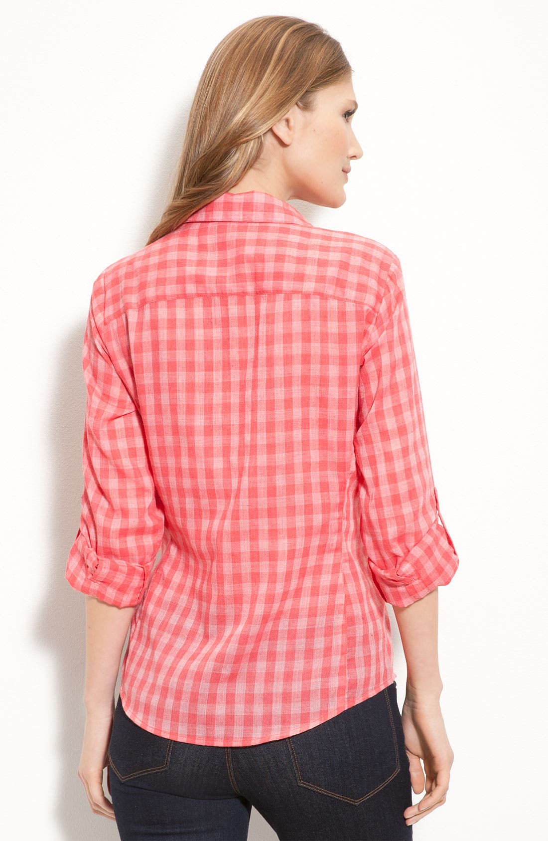 Alternate Image 2  - Sandra Ingrish Roll Sleeve Gingham Shirt (Petite)