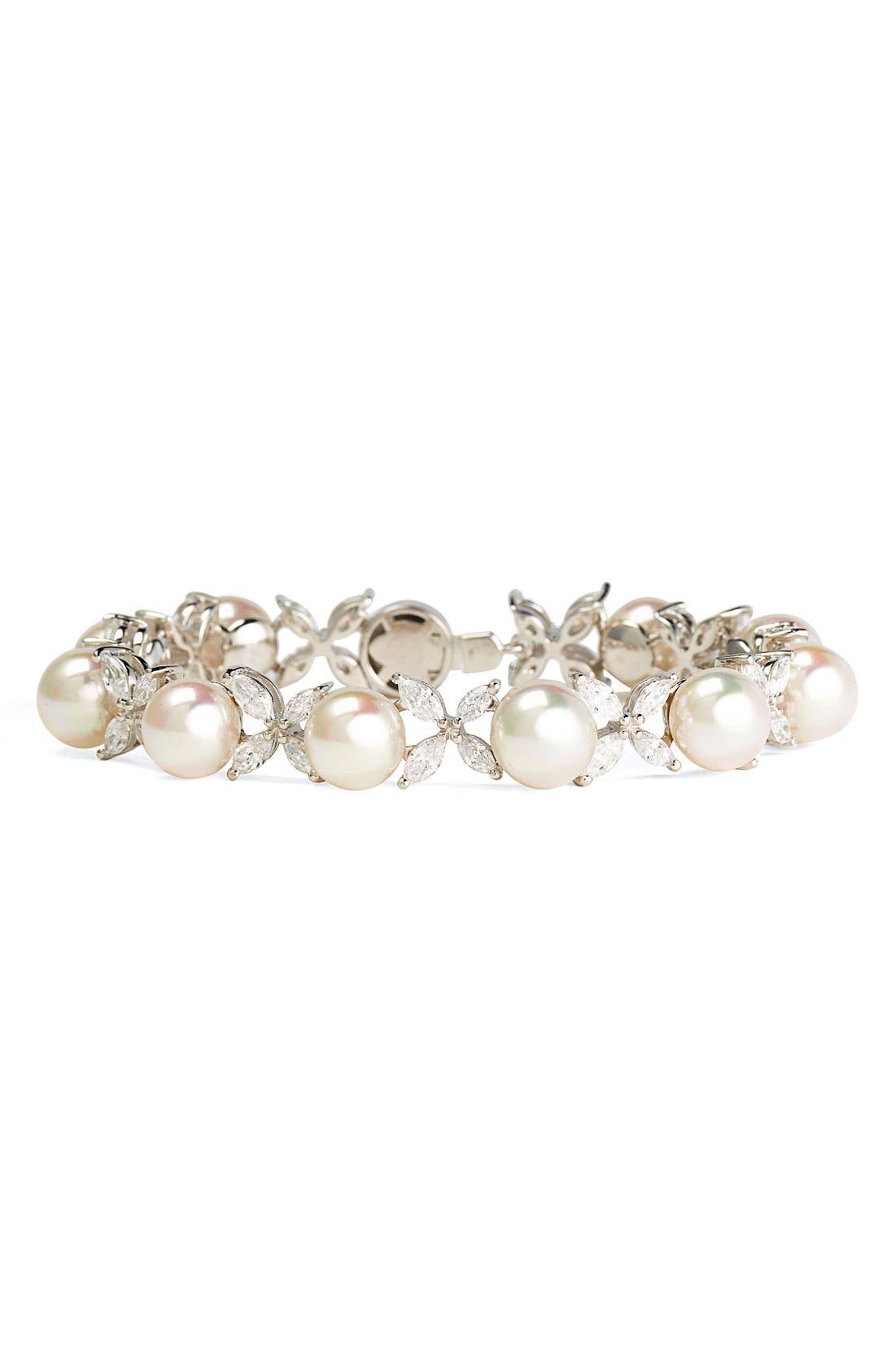 Main Image - Majorica 'Butterfly' Cubic Zirconia & Pearl Bracelet