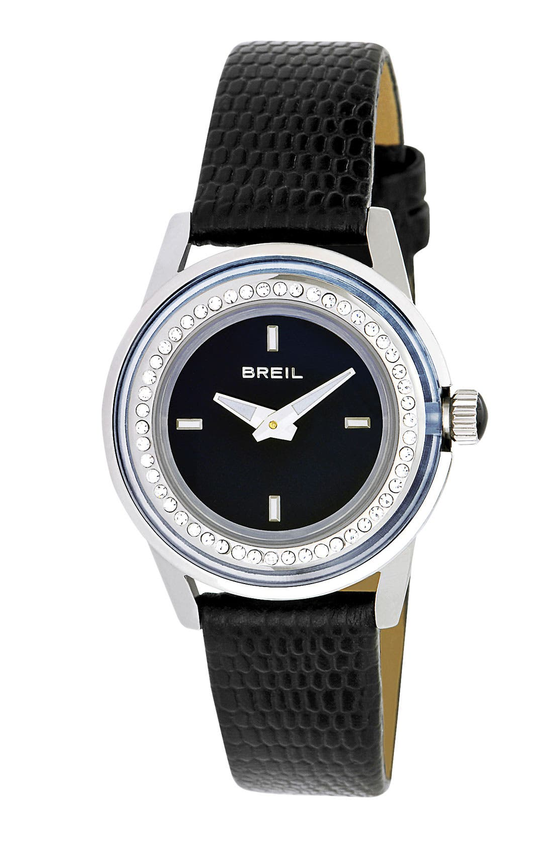 Alternate Image 1 Selected - Breil 'Orchestra' Crystal Bezel Lizardskin Strap Watch