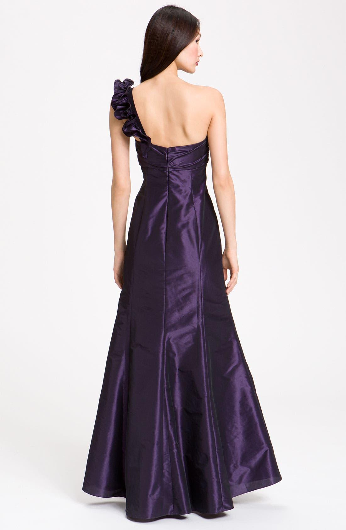 Alternate Image 2  - Amsale Ruffle Shoulder Taffeta Gown