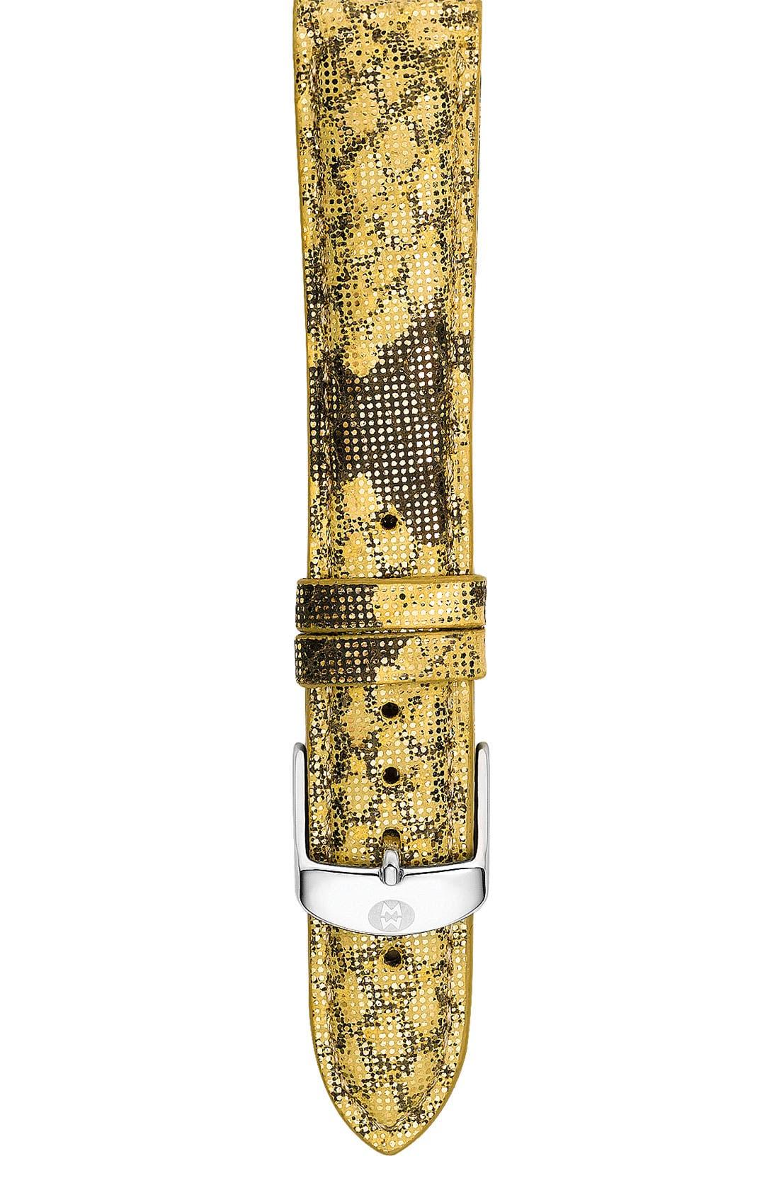 Main Image - MICHELE 18mm Embossed Calfskin Watch Strap