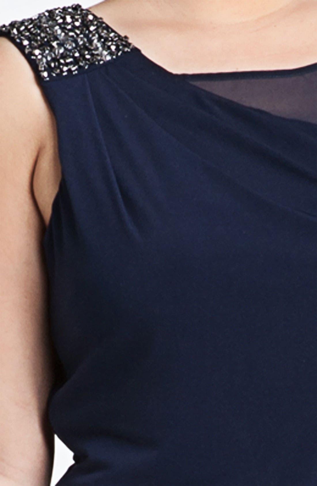 Alternate Image 3  - Calvin Klein Embellished Matte Jersey & Chiffon Dress (Plus Size)