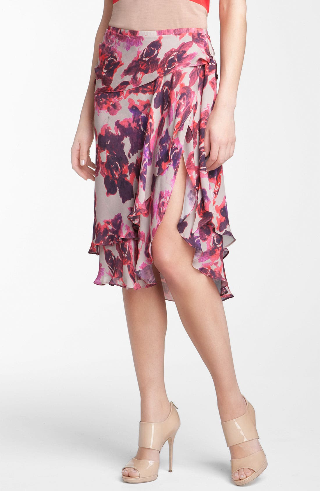 Main Image - Haute Hippie Layered Frilly Faux Wrap Floral Skirt