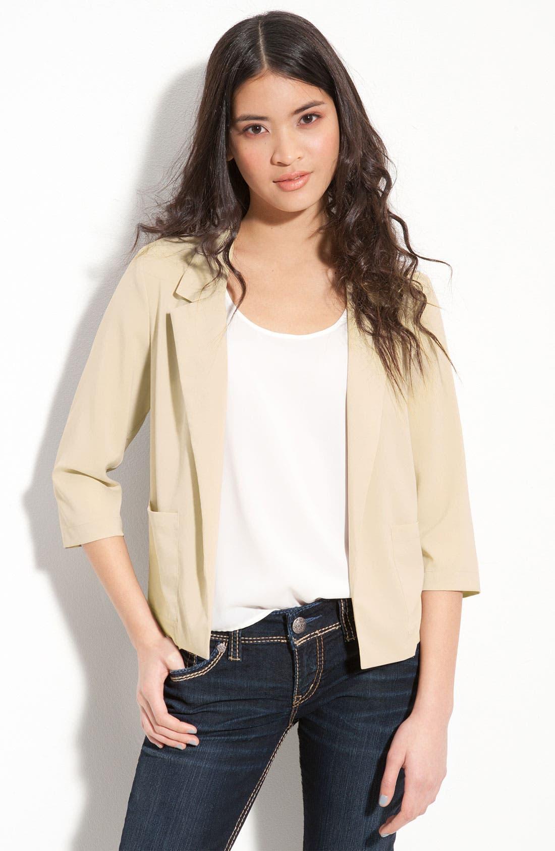 Main Image - Frenchi® Slouchy Open Front Blazer (Juniors)