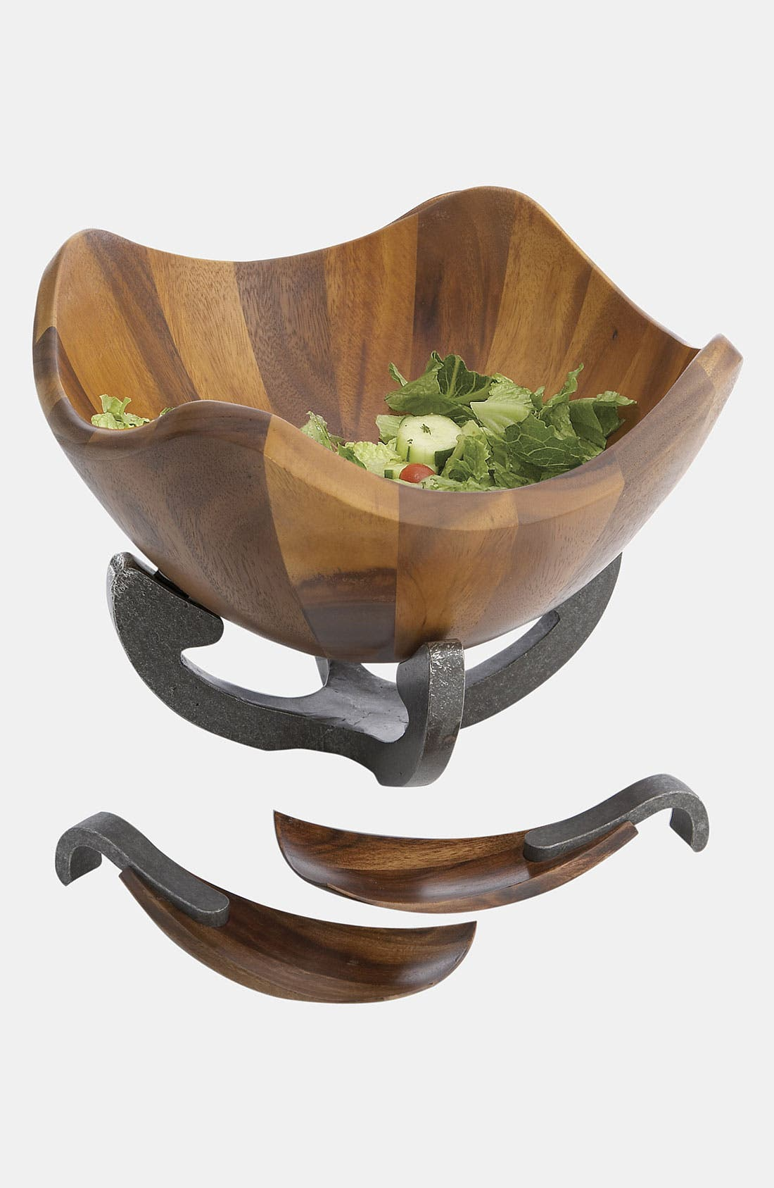 Nambé Anvil Scroll Wood Salad Bowl & Servers