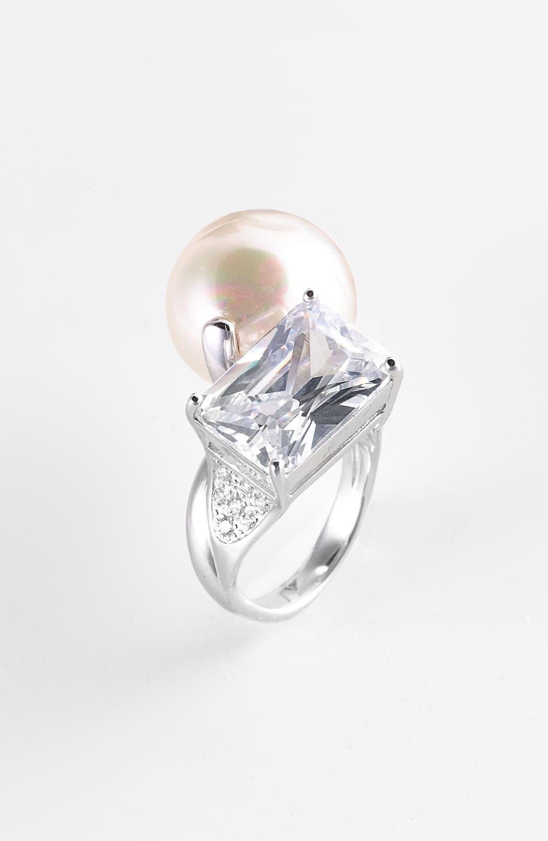 Main Image - Majorica Baroque Pearl & Crystal Ring