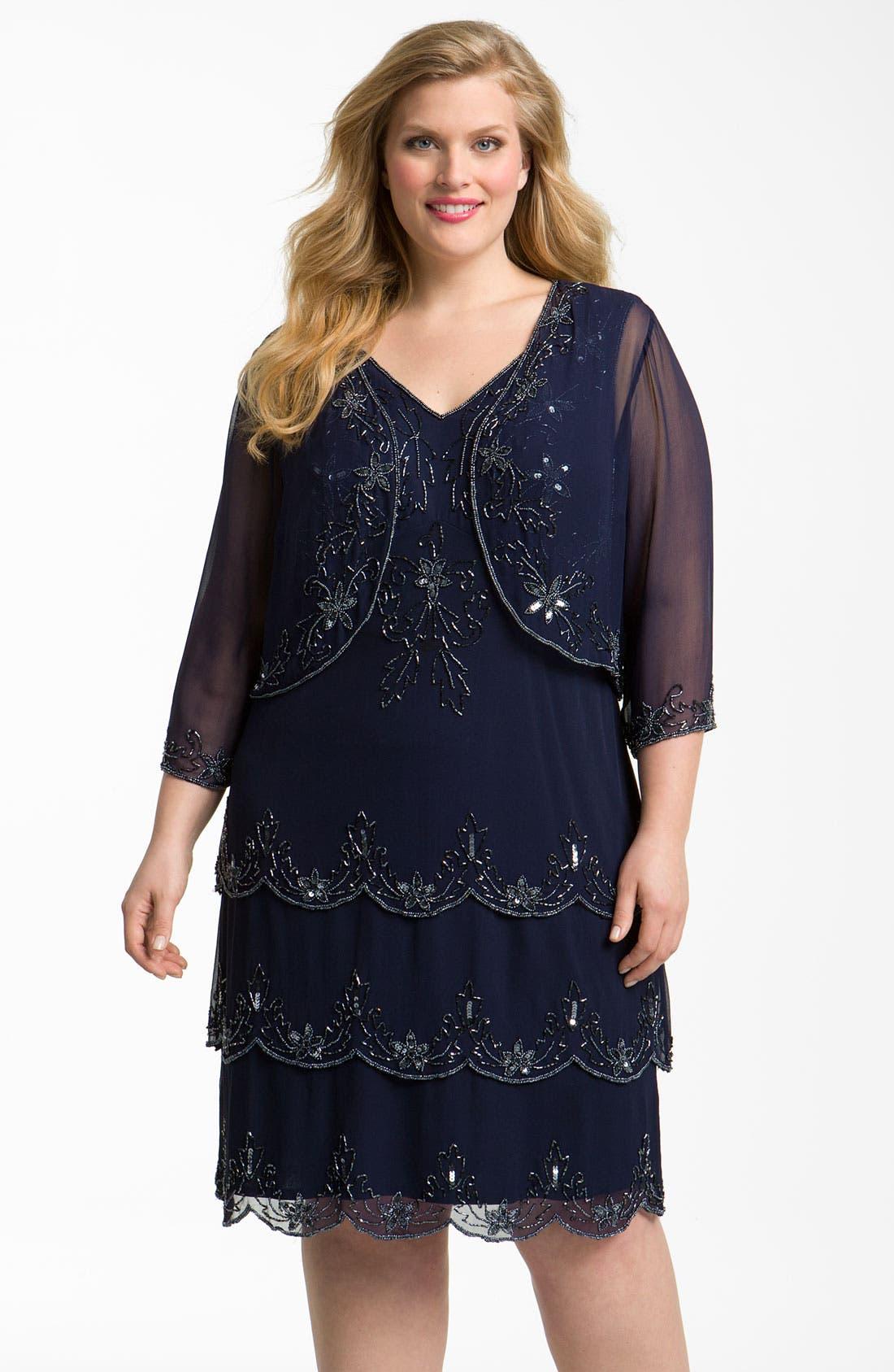 Main Image - Pisarro Nights Beaded Silk Dress & Jacket (Plus)