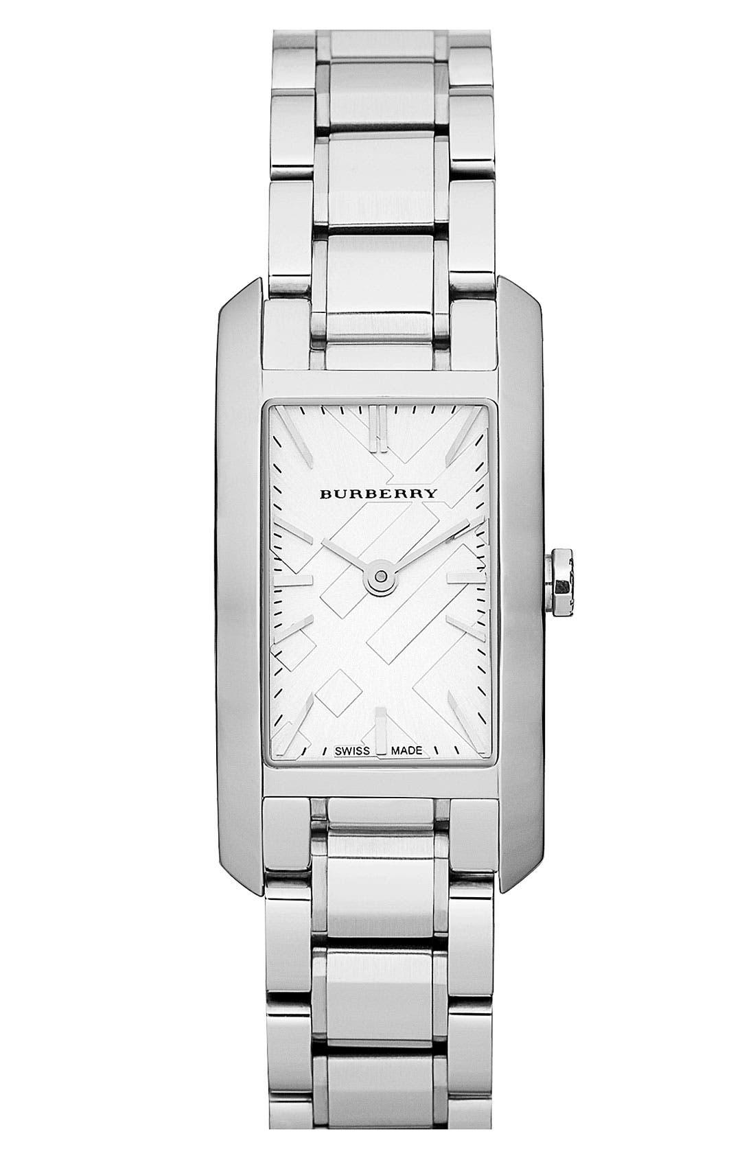 Main Image - Burberry Rectangular Bracelet Watch, 20mm x 26mm