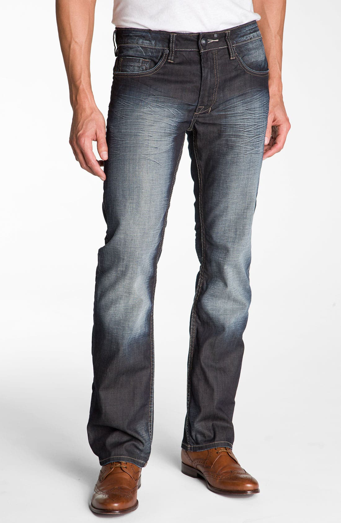 Alternate Image 1 Selected - Buffalo Jeans 'Six' Slim Straight Leg Jeans (Vintage Stone)