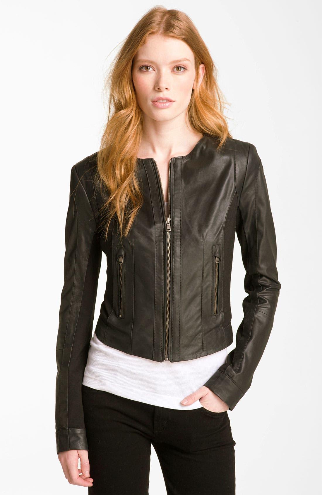 Alternate Image 1 Selected - Bod & Christensen Leather & Ponte Crop Jacket
