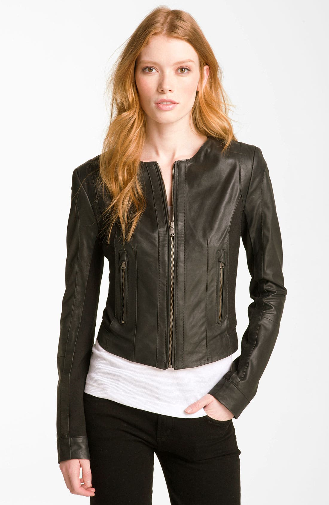Main Image - Bod & Christensen Leather & Ponte Crop Jacket
