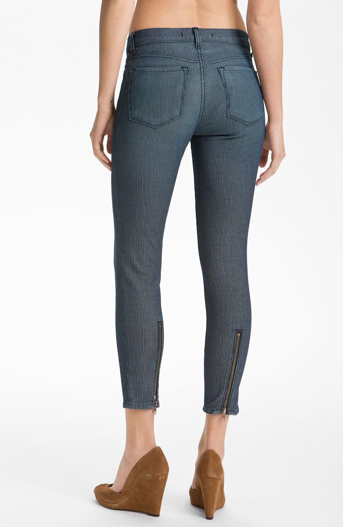 Alternate Image 2  - J Brand Stripe Zip Ankle Skinny Jeans