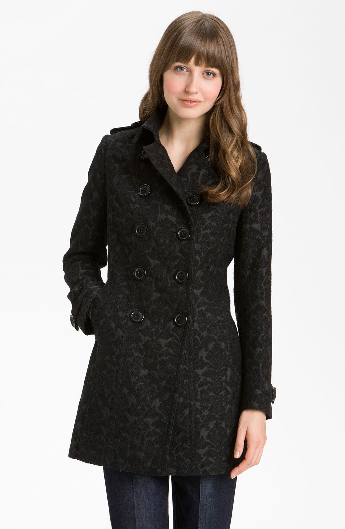 Main Image - Kristen Blake Brocade Double Breasted Coat