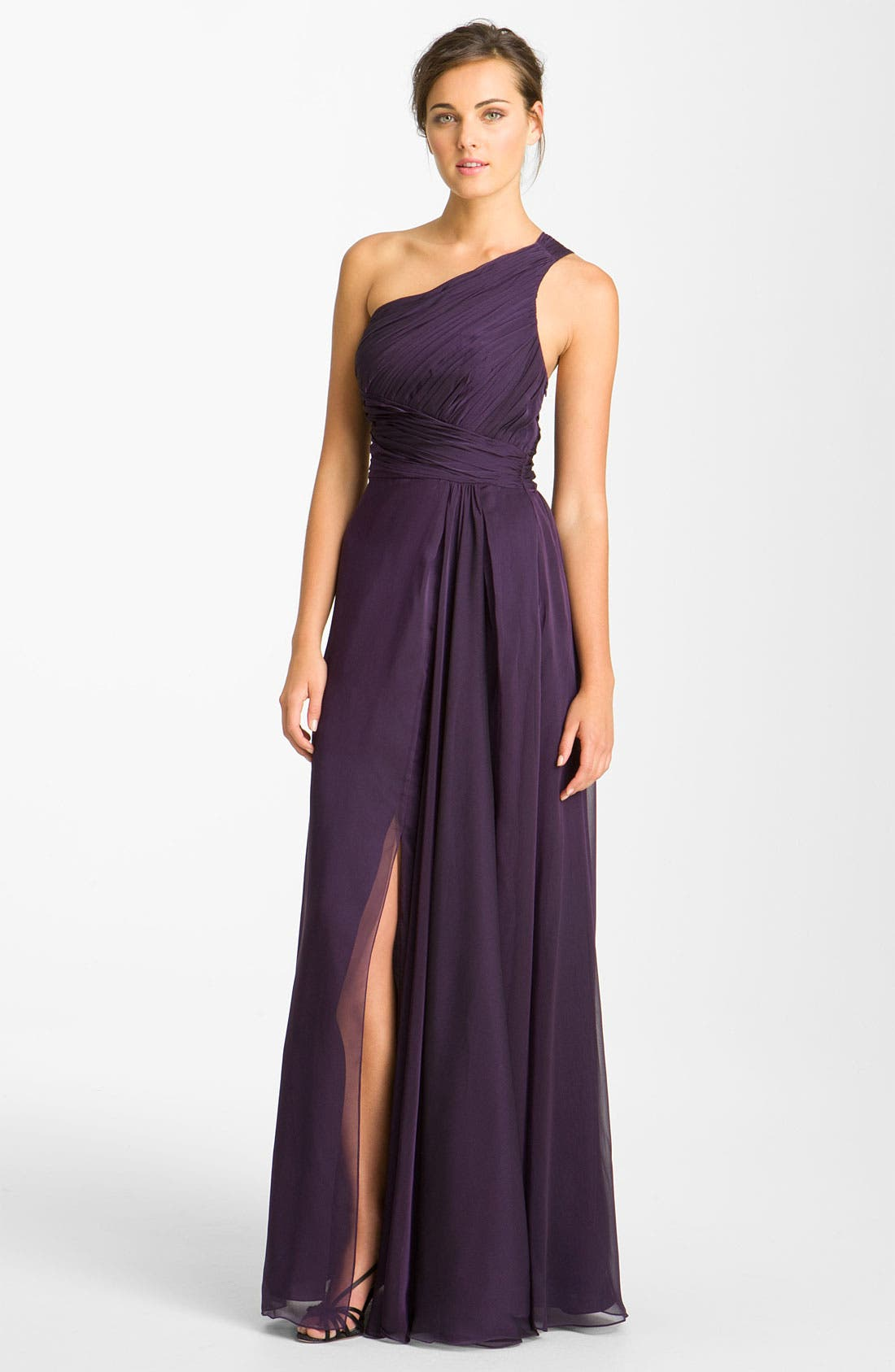 Alternate Image 1 Selected - ML Monique Lhuillier Bridesmaids Pleated One Shoulder Chiffon Gown (Nordstrom Exclusive)