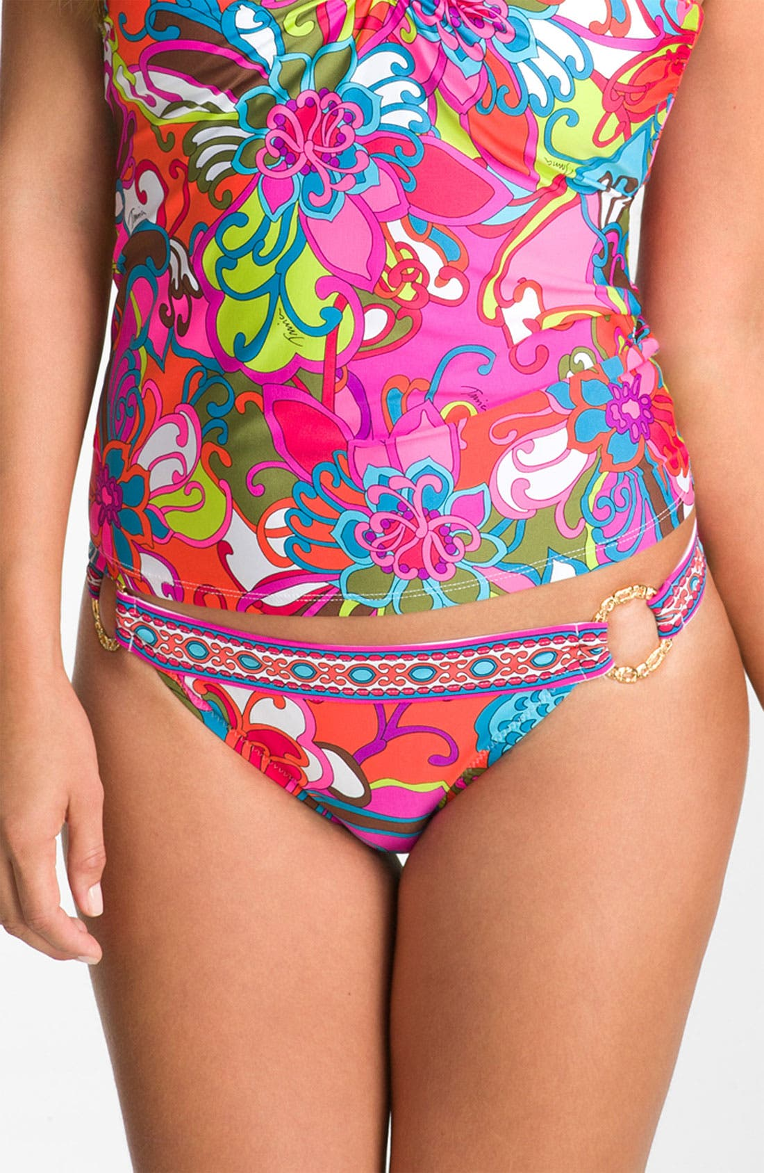 Alternate Image 1 Selected - Trina Turk 'Fiji Flower' Ring Detail Bikini Bottoms