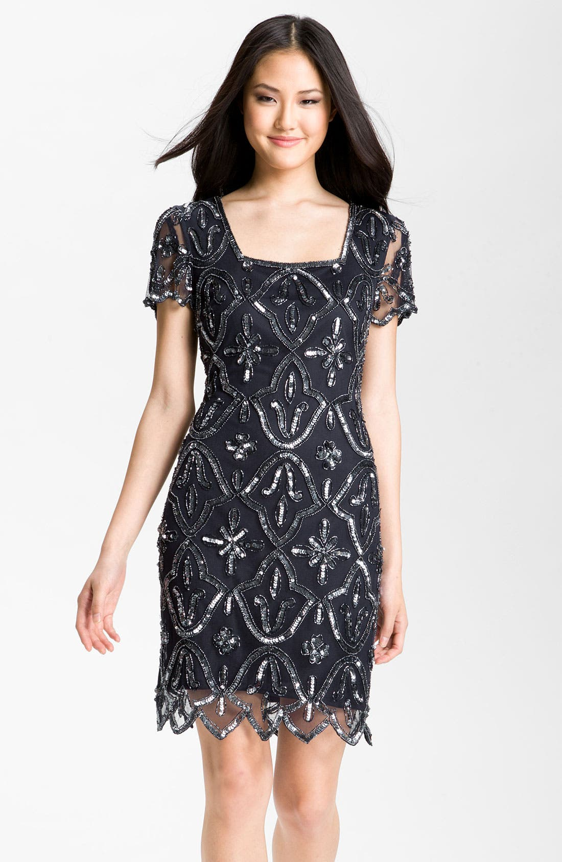 Main Image - Pisarro Nights Square Neck Embellished Sheath Dress