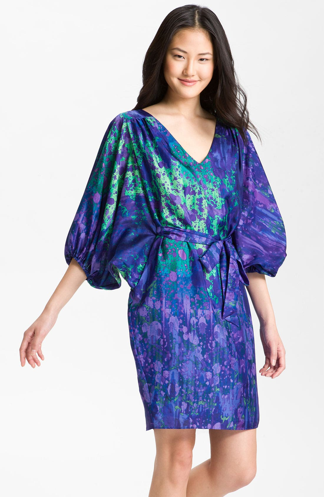 Alternate Image 1 Selected - Suzi Chin for Maggy Boutique Blouson Silk Charmeuse Dress