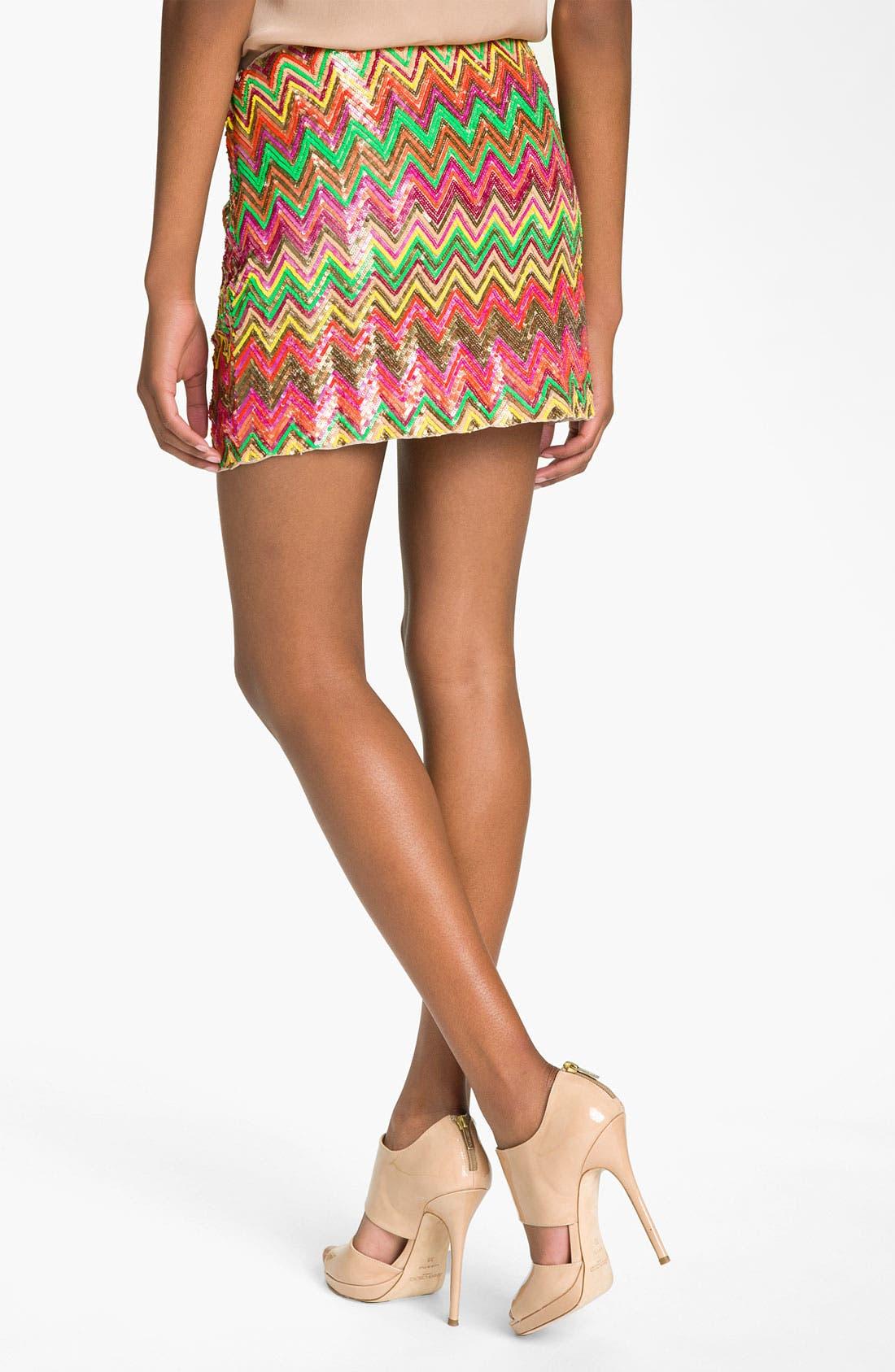 Alternate Image 2  - Haute Hippie Chevron Sequin Miniskirt