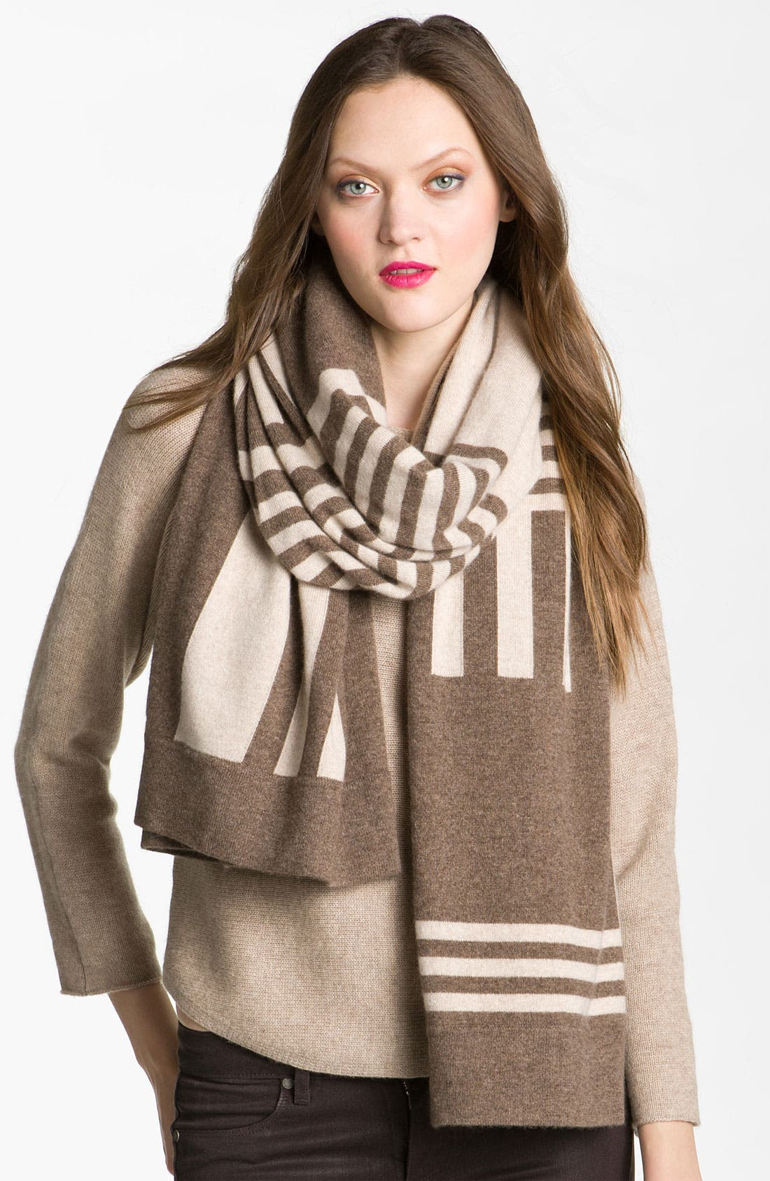 Alternate Image 1 Selected - Nordstrom Collection Plaited Block Cashmere Wrap