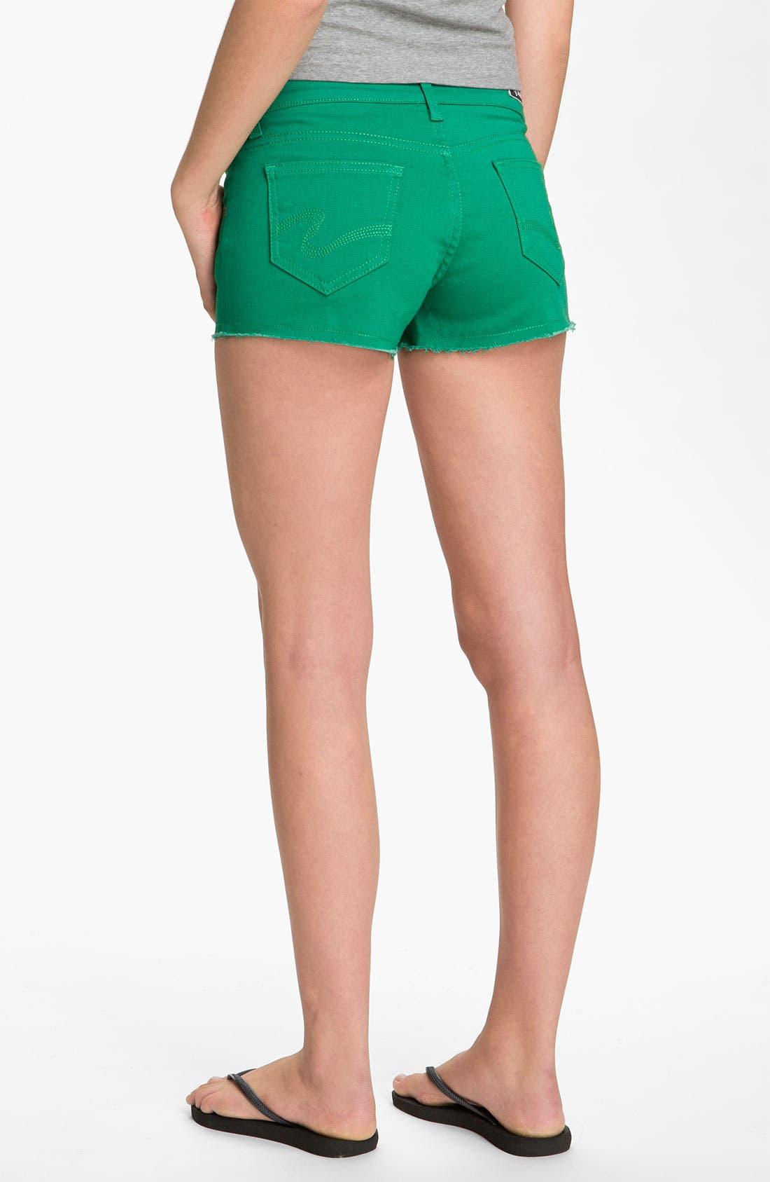 Alternate Image 1 Selected - STS Blue Cutoff Color Denim Shorts (Sardinia Green) (Juniors)