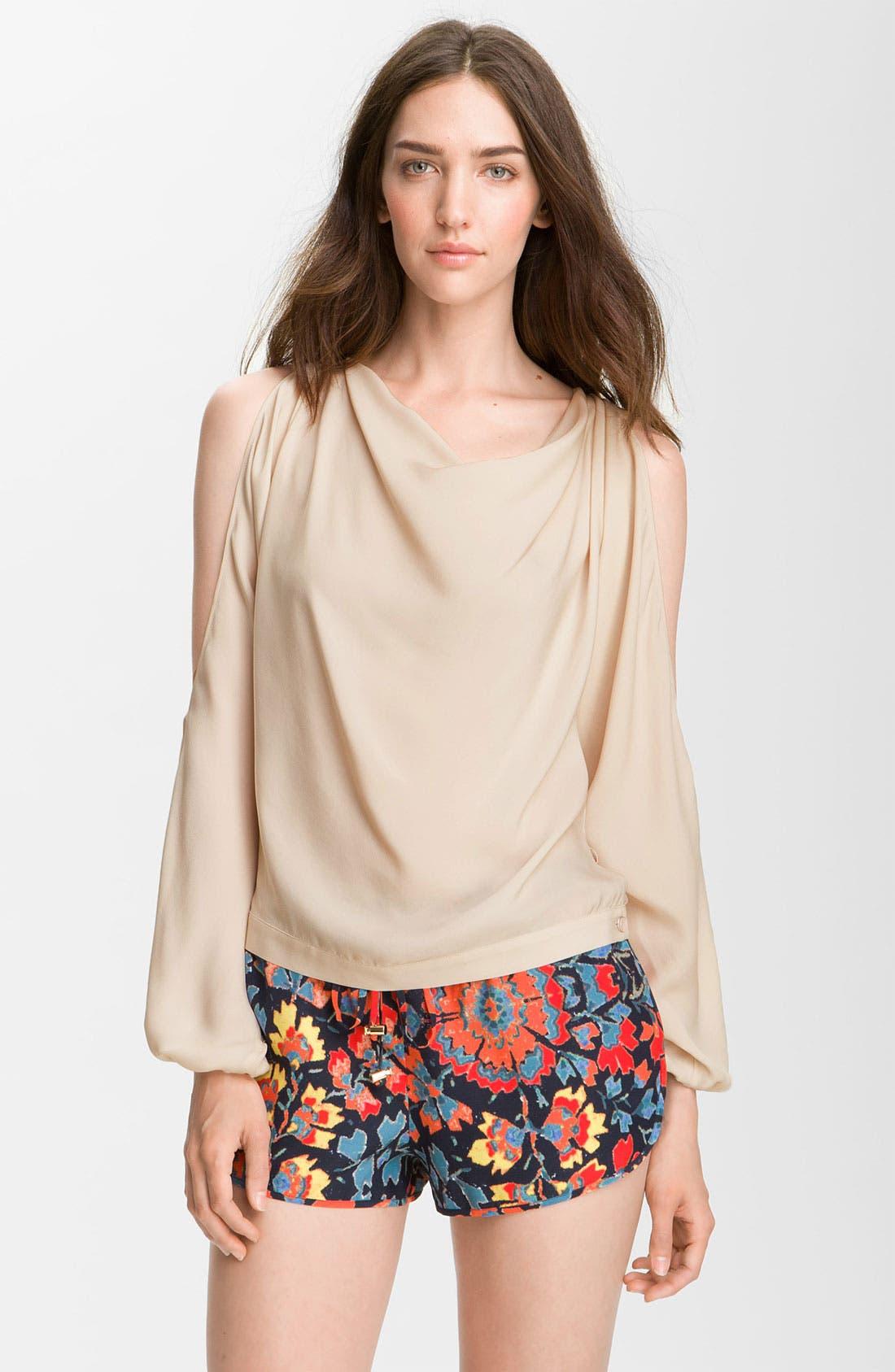 Main Image - Haute Hippie Cutout Sleeve Silk Blouse