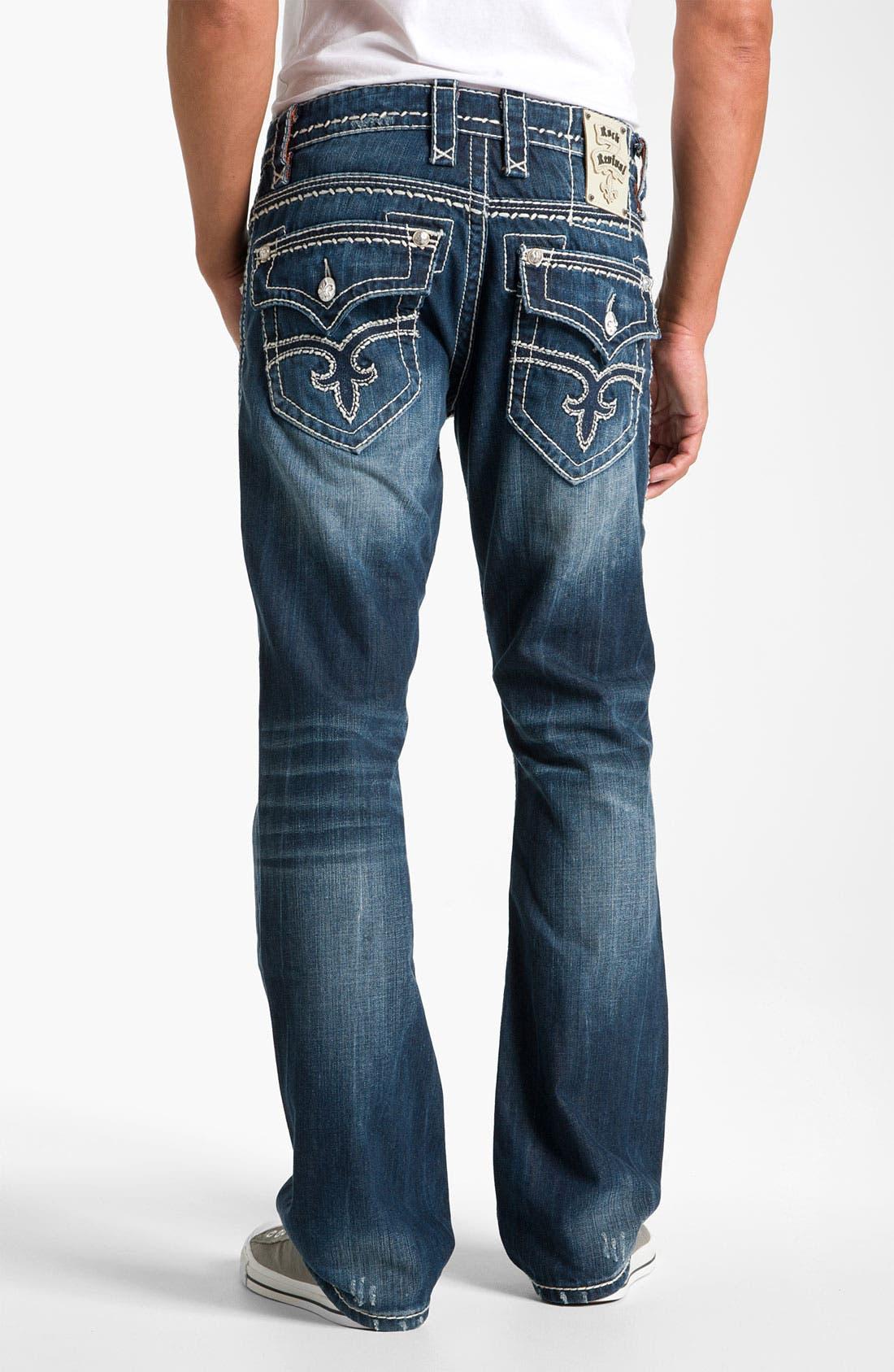 Alternate Image 1 Selected - Rock Revival 'Gary' Straight Leg Jeans (Dark Blue)