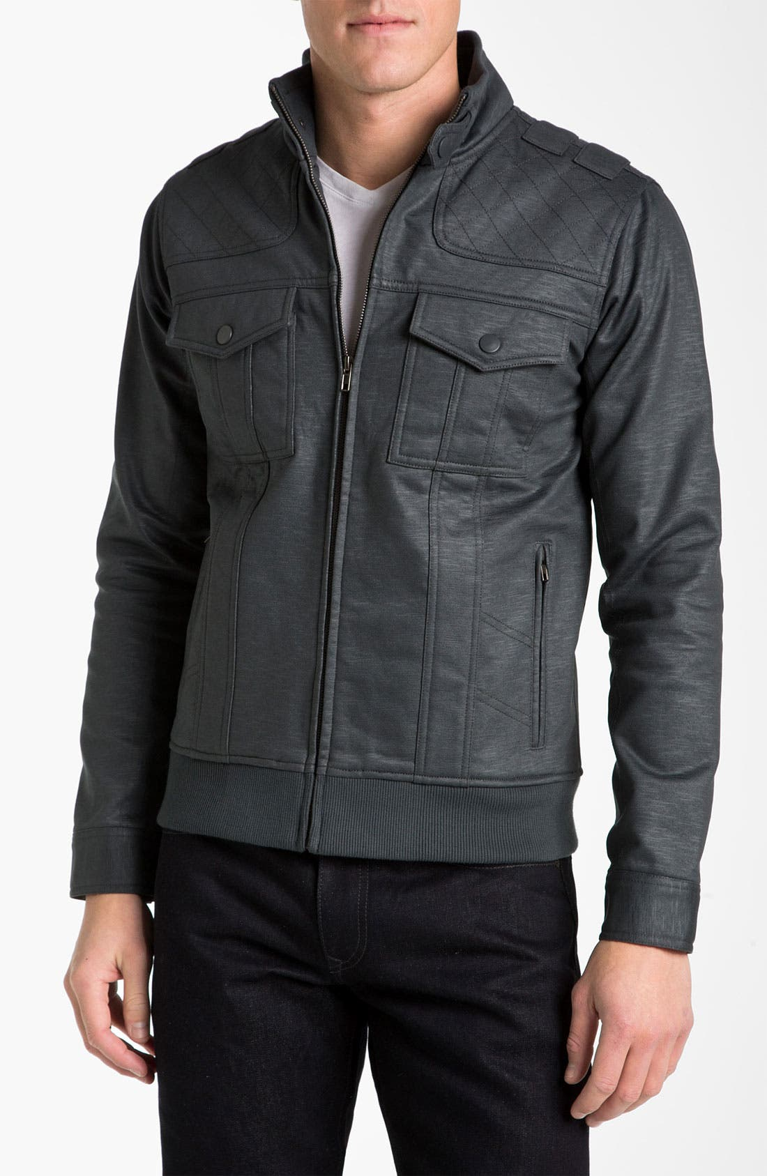 Alternate Image 1 Selected - Kane & Unke Trim Fit Coated Moto Jacket