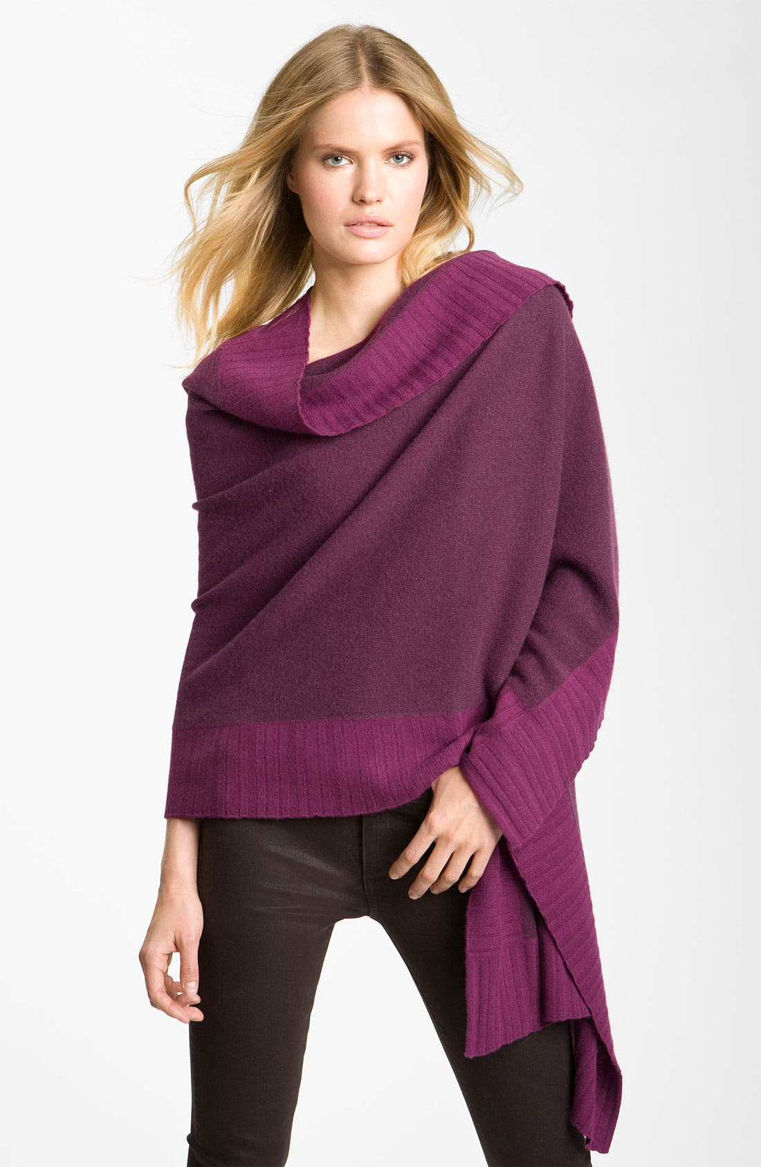 Alternate Image 1 Selected - Nordstrom Collection Pleated Border Cashmere Wrap