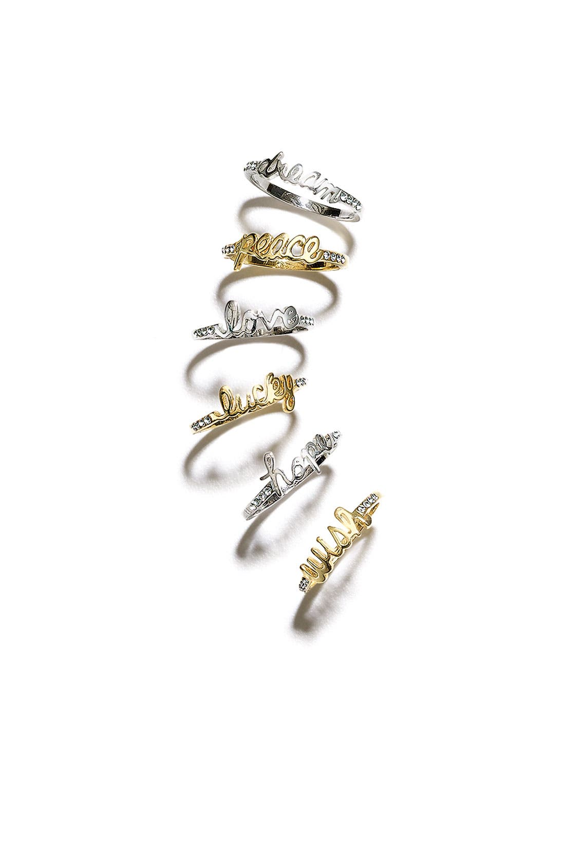 Alternate Image 2  - Ariella Collection 'Messages - Peace' Script Ring (Nordstrom Exclusive)