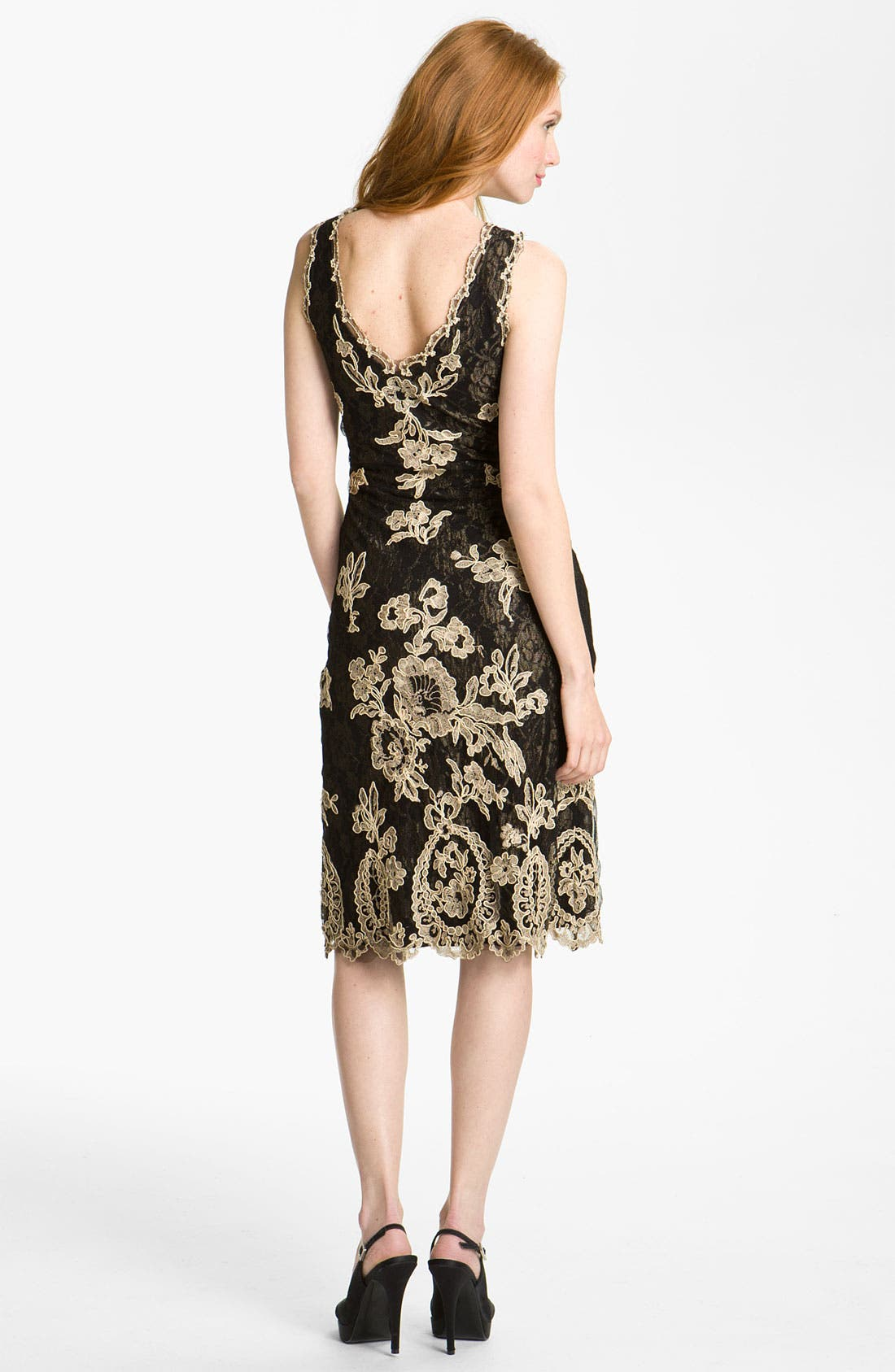 Alternate Image 2  - Kay Celine V-Neck Embroidered Mesh Sheath Dress